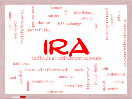 ira: IRA Word Cloud Concept on a Whiteboard with great terms such as individual, retirement, account, plan and more.