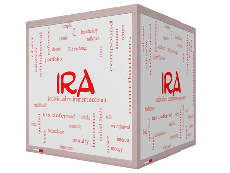 annuities: IRA Word Cloud Concept on a 3D cube Whiteboard with great terms such as individual, retirement, account, plan and more. Stock Photo
