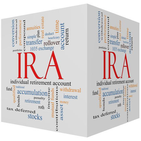 deduct: IRA 3D cube Word Cloud Concept with great terms such as individual, retirement, account, plan and more. Stock Photo