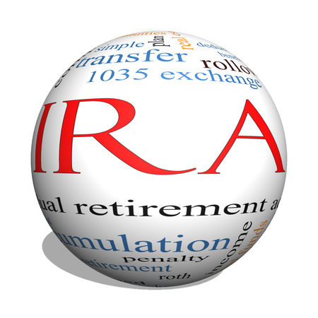 ira: IRA 3D sphere Word Cloud Concept with great terms such as individual, retirement, account, plan and more. Stock Photo