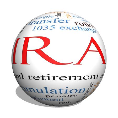 rendite: Sfera IRA 3D Nube Concetto Word con termini come individuo, pensione, conto, piano e altro ancora. Archivio Fotografico