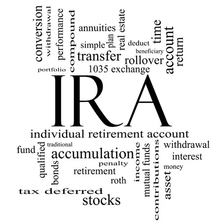 annuities: IRA Word Cloud Concept in black and white with great terms such as individual, retirement, account, plan and more.