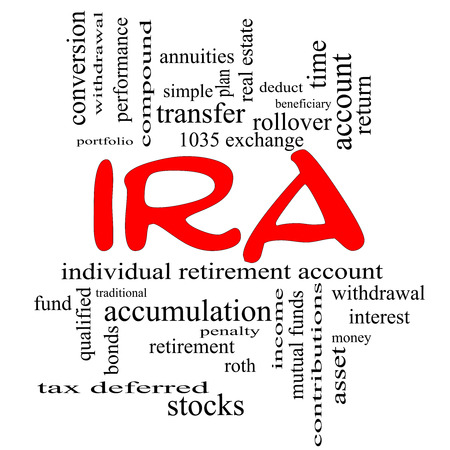 IRA Word Cloud Concept in red caps with great terms such as individual, retirement, account, plan and more. Archivio Fotografico