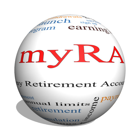 myRA 3D sphere Word Cloud Concept with great terms such as my retirement account, government and more. Reklamní fotografie
