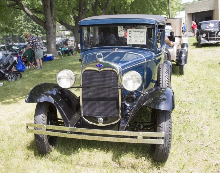 IOLA, WI - JULY 13:  1930 Ford Black Roadster Car at Iola 41st Annual Car Show July 13, 2013 in Iola, Wisconsin.