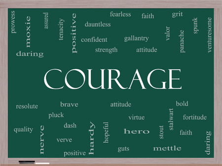 dauntless: Courage Word Cloud Concept on a Blackboard with great terms such as strength, gallantry, bold and more.