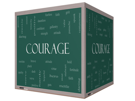 Courage Word Cloud Concept on a 3D cube Blackboard with great terms such as strength, gallantry, bold and more.