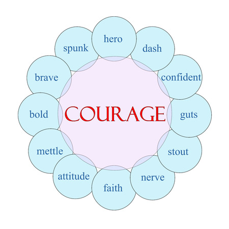 Courage concept circular diagram in pink and blue with great terms such as hero, dash, stout, nerve and more.