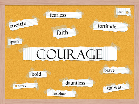 Courage Corkboard Word Concept with great terms such as mettle, spunk, fearless and more.