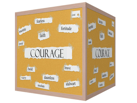 Courage 3D cube Corkboard Word Concept with great terms such as mettle, spunk, fearless and more.