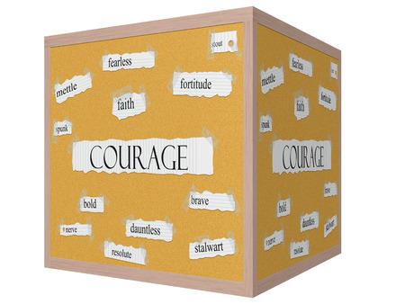 Courage 3D-kubus Corkboard Word Concept met grote termen als moed, lef, onbevreesd en nog veel meer. Stockfoto