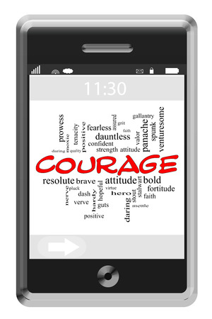 dauntless: Courage Word Cloud Concept of Touchscreen Phone with great terms such as mettle, bold, brave and more. Stock Photo