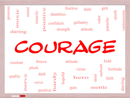panache: Courage Word Cloud Concept on a Whiteboard with great terms such as strength, gallantry, bold and more.