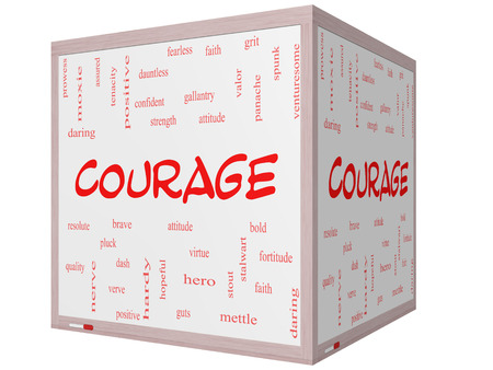 panache: Courage Word Cloud Concept on a 3D cube Whiteboard with great terms such as strength, gallantry, bold and more. Stock Photo