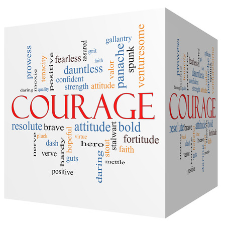dauntless: Courage 3D cube Word Cloud Concept with great terms such as strength, gallantry, bold and more.