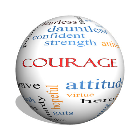 Courage 3D sphere Word Cloud Concept with great terms such as strength, gallantry, bold and more.