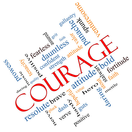 Courage Word Cloud Concept Angled with great terms such as strength, gallantry, bold and more.