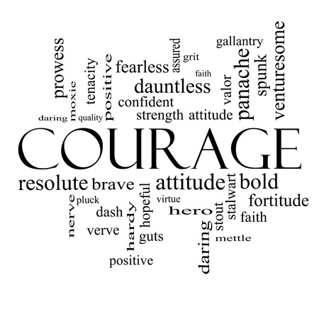 verve: Courage Word Cloud Concept in black and white with great terms such as strength, gallantry, bold and more. Stock Photo