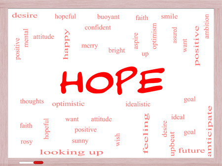 Hope Word Cloud Concept on a Whiteboard with great terms such as optimistic, goal, wish and more. photo