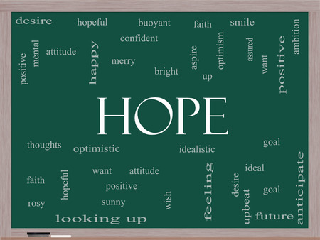 Hope Word Cloud Concept on a Blackboard with great terms such as optimistic, goal, wish and more. photo