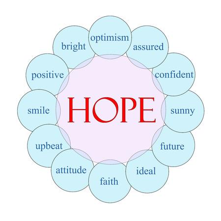 optimismo: Concepto de esperanza diagrama circular en grandes términos rosa y azul con como el optimismo, soleado, el futuro y mucho más.