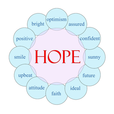 Hope concept circular diagram in pink and blue with great terms such as optimism, sunny, future and more. Stock fotó