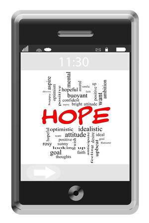 buoyant: Hope Word Cloud Concept of Touchscreen Phone with great terms such as buoyant, happy, future and more.