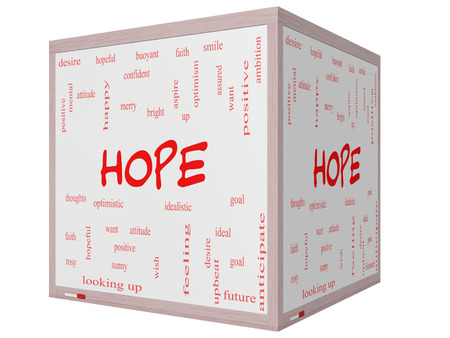 idealistic: Hope Word Cloud Concept on a 3D cube Whiteboard with great terms such as optimistic, goal, wish and more. Stock Photo