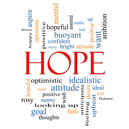 Hope Word Cloud Concept with great terms such as optimistic, goal, wish and more. photo