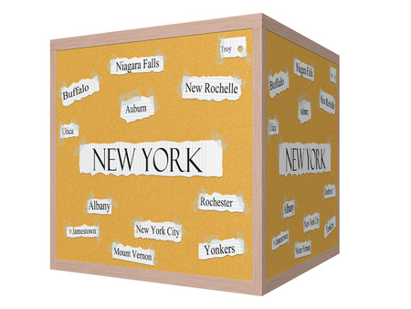 New York State 3D cube Corkboard Word Concept with cities in the state listed such as New York City, Albany, Buffalo and more. 版權商用圖片
