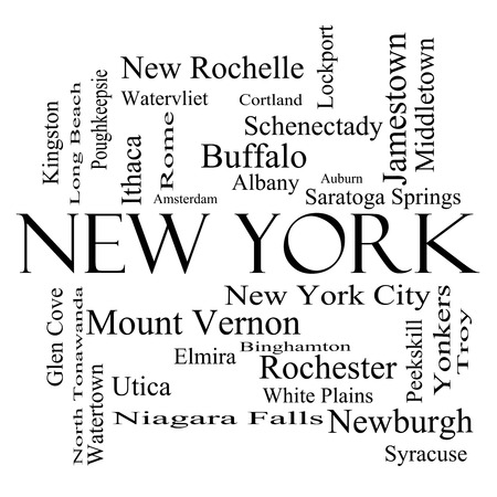 niagara falls city: New York State Word Cloud Concept in black and white with about the 30 largest cities in the state such as New York City, Albany, Buffalo and more. Stock Photo