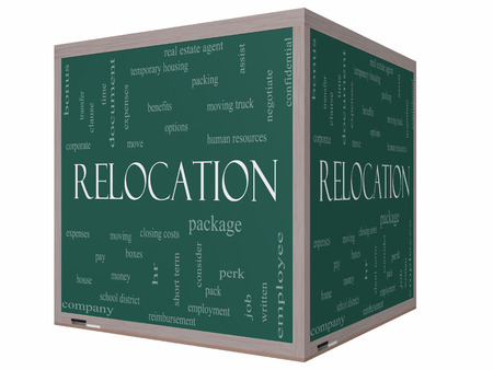 Relocation Word Cloud Concept on a 3D cube Blackboard with great terms such as package, moving, expenses and more. photo