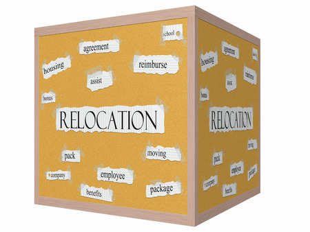 Relocation 3D cube Corkboard Word Concept with great terms such as school, reimburse, assist and more.