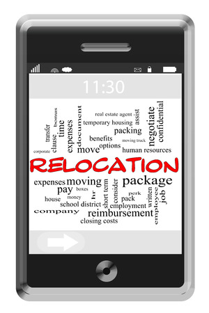 Relocation Word Cloud Concept of Touchscreen Phone with great terms such as package, hr, benefits and more. photo