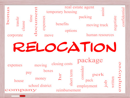 Relocation Word Cloud Concept on a Whiteboard with great terms such as package, moving, expenses and more. photo