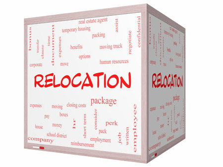 Relocation Word Cloud Concept on a 3D cube Whiteboard with great terms such as package, moving, expenses and more. photo