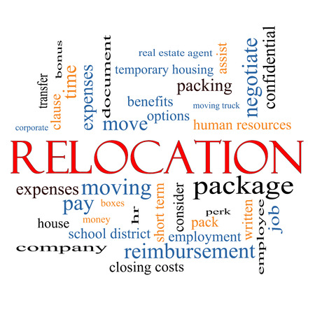 Relocation Word Cloud Concept with great terms such as package, moving, expenses and more.