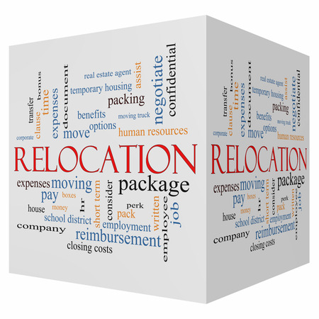 Relocation 3D cube Word Cloud Concept with great terms such as package, moving, expenses and more. photo