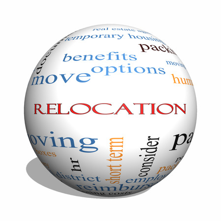 Relocation 3D sphere Word Cloud Concept with great terms such as package, moving, expenses and more. photo