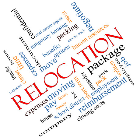 Relocation Word Cloud Concept angled with great terms such as package, moving, expenses and more. photo