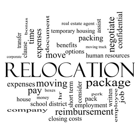 Relocation Word Cloud Concept in black and white with great terms such as package, moving, expenses and more. photo