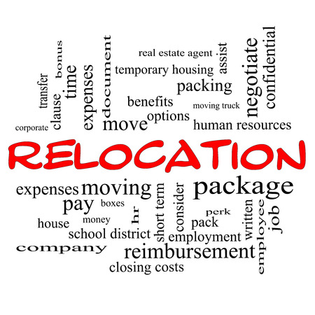 Relocation Word Cloud Concept in red caps with great terms such as package, moving, expenses and more. photo