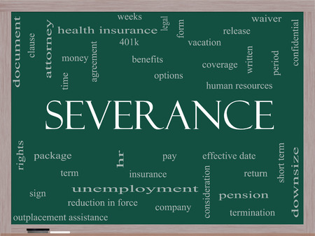 severance: Severance Word Cloud Concept on a Blackboard with great terms such as pay, package, hr, benefits and more. Stock Photo