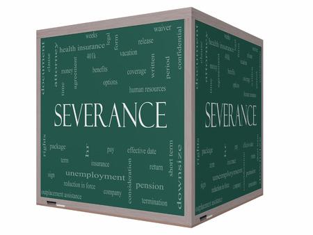 severance: Cesant�a Palabra Nube Concepto en una pizarra cubo 3D con grandes t�rminos como sueldo, paquete, hr, beneficios y m�s. Foto de archivo