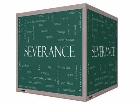 severance: Severance Word Cloud Concept on a 3D cube Blackboard with great terms such as pay, package, hr, benefits and more. Stock Photo