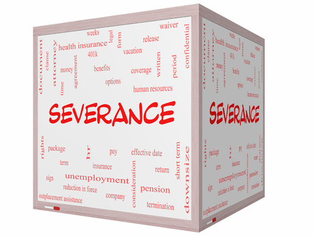 Severance Word Cloud Concept on a 3D cube Whiteboard with great terms such as pay, package, hr, benefits and more. photo