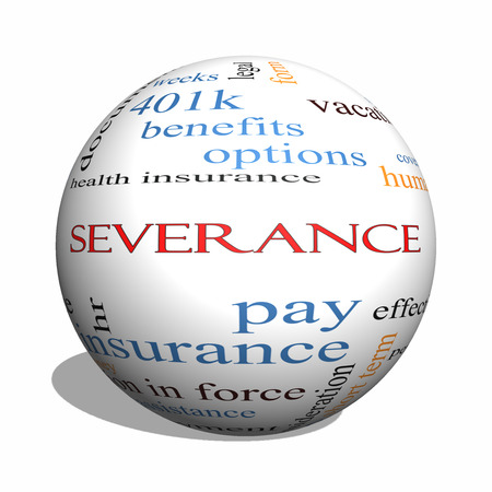 downsize: Severance 3D sphere Word Cloud Concept with great terms such as pay, package, hr, benefits and more.