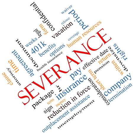 Severance Word Cloud Concept angled with great terms such as pay, package, hr, benefits and more. photo