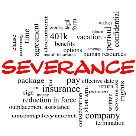 Severance Word Cloud Concept in red caps with great terms such as pay, package, hr, benefits and more. photo