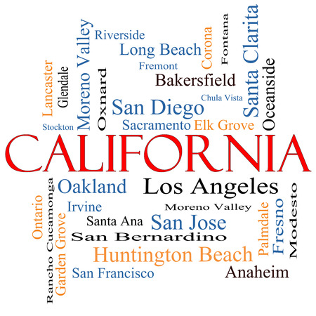 huntington beach: California State Word Cloud Concept with about the 30 largest cities in the state such as Los Angeles, San Diego, Sacramento and more. Stock Photo